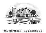 farm with trees and tractor... | Shutterstock .eps vector #1913255983