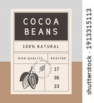 cocoa beans vintage label.... | Shutterstock .eps vector #1913315113