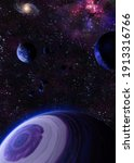 some planets and galaxies in... | Shutterstock . vector #1913316766