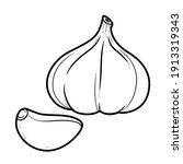 head of garlic and clove...   Shutterstock .eps vector #1913319343