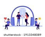 podcast with people characters...   Shutterstock .eps vector #1913348089