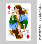 playing card queen of diamonds... | Shutterstock .eps vector #1913349373