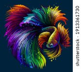 tropical fish. abstract  neon ... | Shutterstock .eps vector #1913361730
