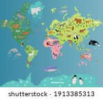 animal map of the world with... | Shutterstock .eps vector #1913385313