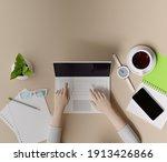 overhead shot of office desktop.... | Shutterstock . vector #1913426866