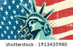statue of liberty vintage...   Shutterstock .eps vector #1913435980