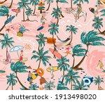 hawaii surf beach seamless... | Shutterstock .eps vector #1913498020