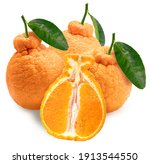 Orange Fruit With Leaves On...