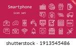 smartphone icon set. line icon...