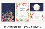 pretty watercolor wedding card... | Shutterstock .eps vector #1913548249