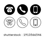 phone icon set  contact us... | Shutterstock .eps vector #1913566546