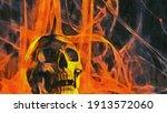Human Skull On A Fiery...
