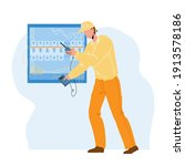 electrical engineer checking... | Shutterstock .eps vector #1913578186