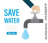 big hand closes tap with water. ... | Shutterstock .eps vector #1913583979