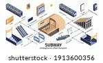 subway underground railway... | Shutterstock .eps vector #1913600356