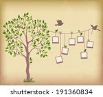 memories tree with photo frames.... | Shutterstock .eps vector #191360834