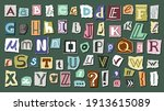 journal cut letters and symbols ... | Shutterstock .eps vector #1913615089