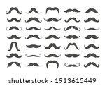 varieties of retro mustache set.... | Shutterstock .eps vector #1913615449