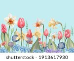 tulips daffodils flowers spring.... | Shutterstock . vector #1913617930