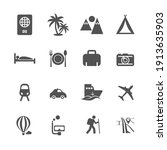 tour and travel icon set vector.