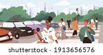 crowd of people crossing road... | Shutterstock .eps vector #1913656576