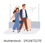 happy couple with suitcases and ... | Shutterstock .eps vector #1913672170