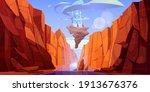 magic blue castle on rock... | Shutterstock .eps vector #1913676376