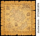 pirate treasure scroll map with ... | Shutterstock .eps vector #1913681896