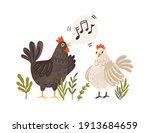 rooster singing songs for hen.... | Shutterstock .eps vector #1913684659
