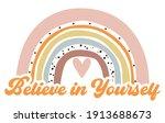 cute cartoon rainbow believe in ... | Shutterstock .eps vector #1913688673