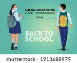 walking boy and girl. keep... | Shutterstock .eps vector #1913688979