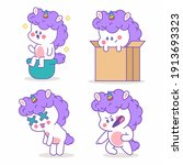 unicorn with different emotions ...   Shutterstock .eps vector #1913693323