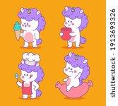 unicorn with food vector...   Shutterstock .eps vector #1913693326