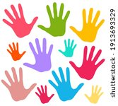 colorful paper child palm hand...   Shutterstock .eps vector #1913693329