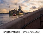 Military Ship Against The...