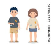 dirty and poor hungry children. ...   Shutterstock .eps vector #1913756860