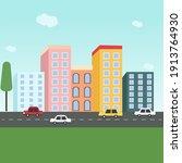 roadside city  illustration ... | Shutterstock .eps vector #1913764930