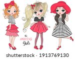 three hand drawn beautiful cute ... | Shutterstock .eps vector #1913769130