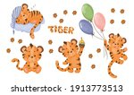 Set Of Four Cute Little Tiger...