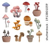 set of mushrooms of different... | Shutterstock .eps vector #1913801059