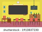 empty classroom interior... | Shutterstock .eps vector #1913837230