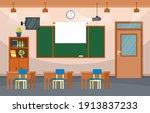 empty classroom interior... | Shutterstock .eps vector #1913837233
