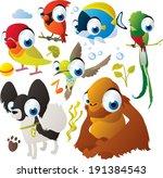 vector animal set  lovebird ... | Shutterstock .eps vector #191384543
