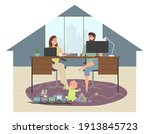 parents work at home at a...   Shutterstock .eps vector #1913845723