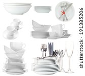 collage of white tableware... | Shutterstock . vector #191385206