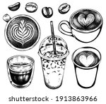 sketch set of cups with coffee... | Shutterstock .eps vector #1913863966