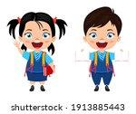 happy cute beautiful smart... | Shutterstock .eps vector #1913885443