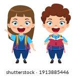 happy cute beautiful smart... | Shutterstock .eps vector #1913885446