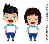 happy cute beautiful smart... | Shutterstock .eps vector #1913885449