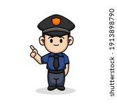 cute police officer in uniform... | Shutterstock .eps vector #1913898790